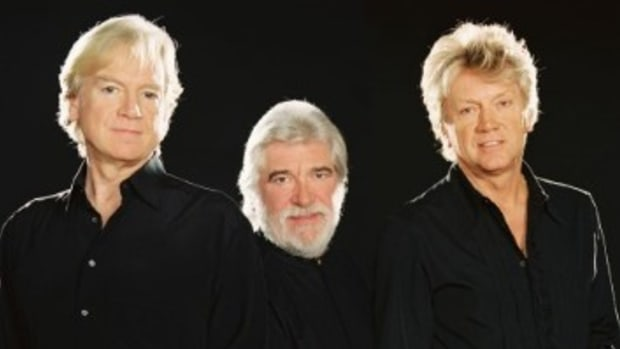 The core trio of The Moody Blues (from left) Justin Hayward, Graeme Edge and bassist John Lodge. All three were in the band when it played the legendary Isle of Wight gig in 1970. Photo: Nancy Rosen.