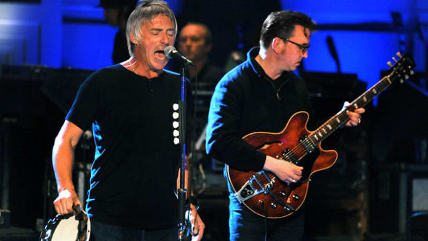 Paul Weller (left) with special guest Richard Hawley at Weller's performance for BBC Radio 2's In Concert program.