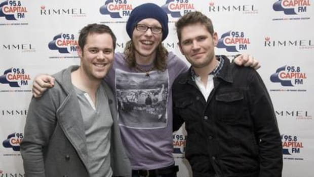 Scouting For Girls pictured at their Capital FM Rimmel Room live session in London. They are (left to right) drummer Peter Ellard, bassist Gary Churchouse, and vocalist/keyboardist/guitarist Roy Stride.