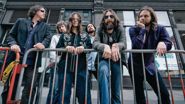 THE BLACK CROWES (from left) Drummer Steve Gorman, Adam MacDougall, Luthern Dickinson, Sven Pipien, Chris Robinson and Rich Robinson. Photo: Josh Cheuse.