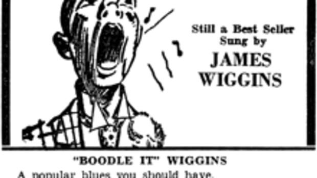 """A VINTAGE ADVERTISEMENT for """"Keep Knocking and You Can't Get In"""" b/w """"Evil Woman Blues"""" credits """"Boodle It"""" Wiggins with the song. Image courtesy of Blues Images, a division of Tefteller's World's Rarest Records"""