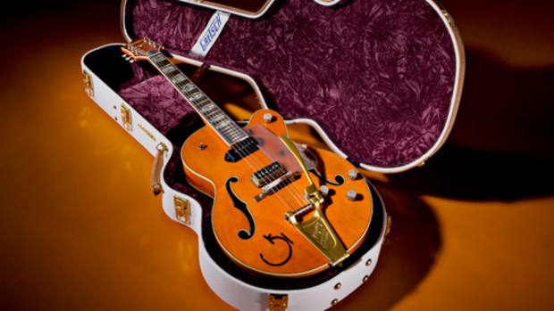 THE EDDIE COCHRAN TRIBUTE limited-edition guitar from Gretsch retails for $12,000. Photo courtesy Gretsch