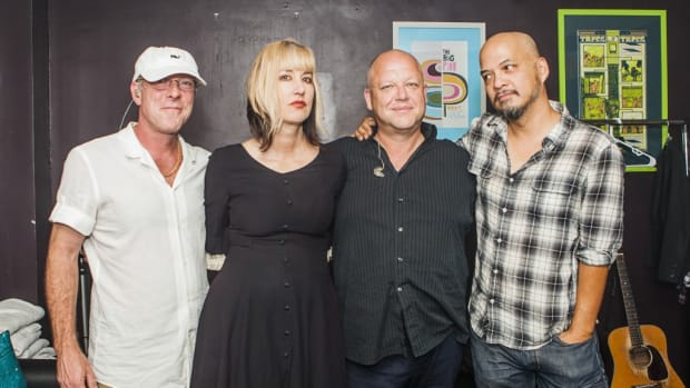 The current lineup of The Pixies includes (left to right) drummer David Lovering, bassist Kim Shattuck, guitarist/lead vocalist Black Francis, and guitarist Joey Santiago. (Photo by Andy Keilen)