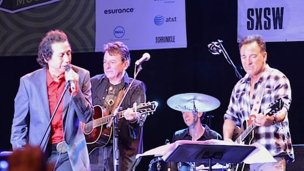 Alejandro Escovedo (far left) and guest guitarists Joe Ely (left) and Bruce Springsteen (right) perform March 14 during the Austin Music Awards. (Photo by Chris M. Junior)
