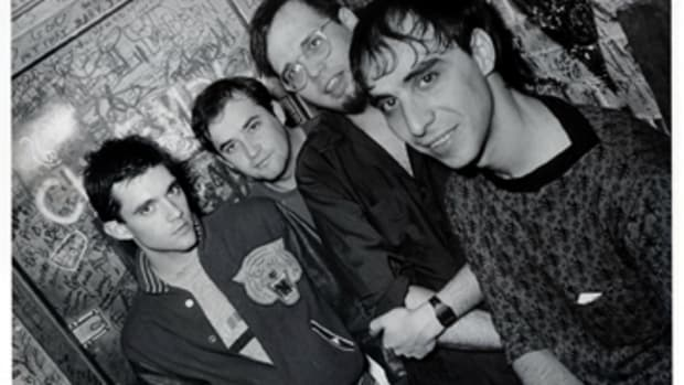 "The ""classic"" Smithereens lineup (from left) Mike Mesaros, Jim Babjak, Dennis Diken and Pat DiNizio hang out backstage."