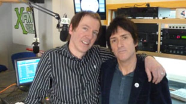 Mancunian guitar legend Johnny Marr (pictured at right above) was recently interviewed by DJ Clint Boon (at left above). The interview was part of the celebrations of XFM Manchester's fifth anniversary.