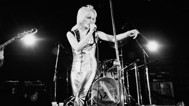 Cherie Currie onstage with The Runaways. Photo by Janet Macoska