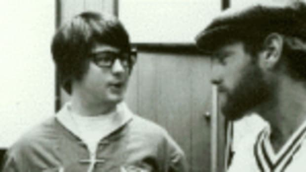 Brian Wilson (left) and Mike Love in the 1960s.