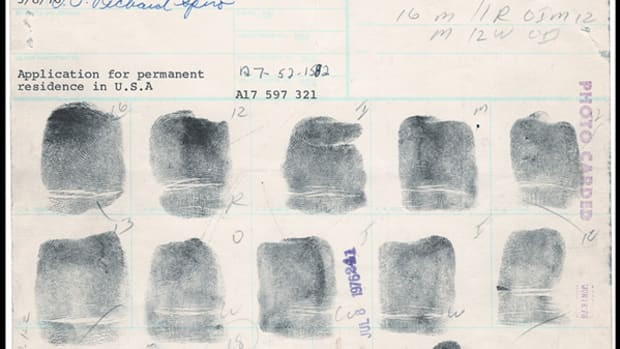 The FBI seized this John Lennon fingerprint card from Gotta Have It!, which had the piece for sale in its Rock & Roll Pop Culture Auction. Photo courtesy of Gotta Have It!