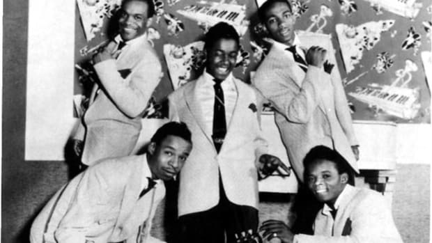 "The ""Work With Me, Annie"" era of Royals/Midnighters in 1954 was (top, from left) Charles Sutton, Sonny Wood and Lawson Smith and (bottom, from left) guitarist Arthur Porter and Hank Ballard. Photo courtesy Todd Baptista."