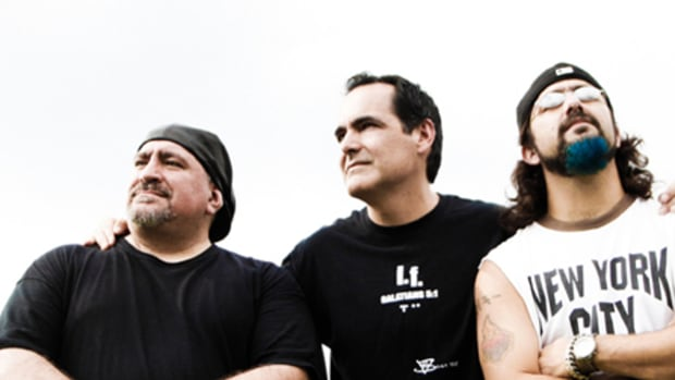 Neal Morse (middle) with recording partners Randy George (left) and Mike Portnoy (right).