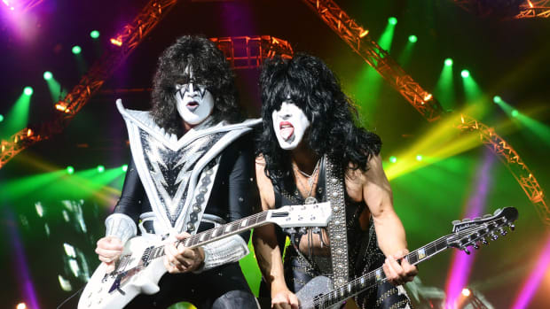 Kiss guitarists Tommy Thayer (left) and Paul Stanley in action Aug. 3 at the Susquehanna Bank Center in Camden, N.J. (Photo by Chris M. Junior)