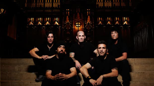 LEFT TO RIGHT, back row: Frank Bello, Scott Ian, Joey Belladonna front row: Rob Caggiano, Charlie Benante PHOTO CREDIT: Matthew Rodgers