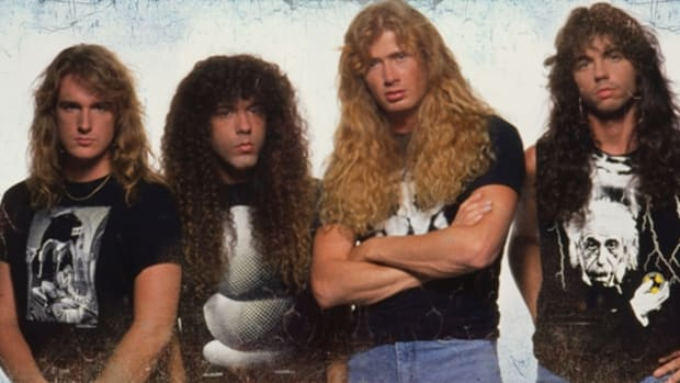 """Megadeth during """"Countdown To Extinction."""" Left to right: Dave Ellefson, Marty Friedman, Mustaine and Nick Menza. Photo by Ross Halfin."""