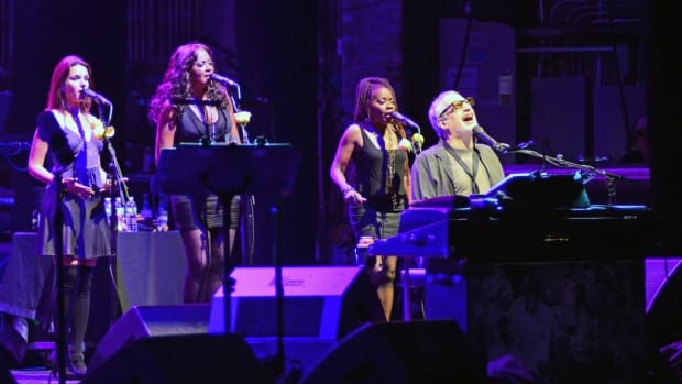Steely Dan's Donald Fagen with (background from left) Carolyn Leonhart-Escoffery, La Tanya Hall and Catherine Russell. (Photo by Chris M. Junior)