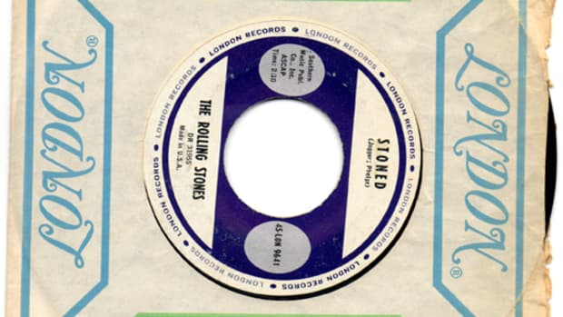 """THIS STOCK COPY of The Rolling Stones' """"Stoned"""" is the jewel —in value, at least — of Richard Kaplan's collection of 45s on the London label. Photo courtesy of Richard Kaplan"""