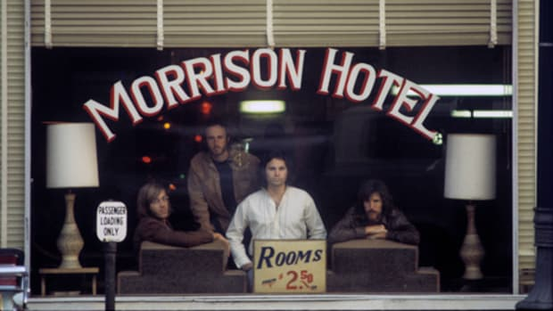 "The photo for The Doors' ""Morrison Hotel"" album cover, taken on December 17, 1969. Photo by Henry Diltz. Photo courtesy of Morrison Hotel Gallery."