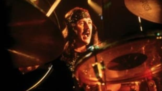 """KEEPING THE CAMERA on the action, as this shot of Led Zeppelin drummer John Bonham does in """"The Song Remains The Same,"""" gives concert DVD viewers a more enjoyable experience. (Copyright Rhino/Courtesy of Warner Home Video)"""
