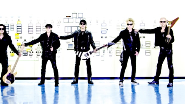 Currently, the Scorpions are (from left to right) Pavel Maciwoda on bass, Klaus Meine on vocals, Matthias Jabs on lead guitar, James Kottak on drums and Rudolf Schenker on ryhthm guitars. Photo by Marc Theis