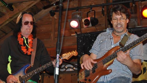 Todd Rundgren james with Kasim Sulton at Todd Rundgren's Musical Revival camp held July 2012 in Big Indian, N.Y. Alisa Cherry photo.