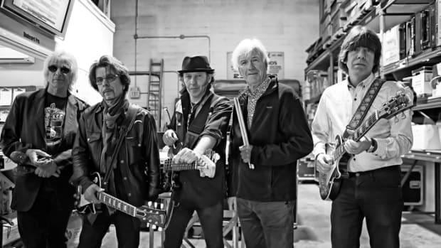 YARDBIRDS 2016 (L-R):Myke Scavone, Johnny A, Kenny Aaronson, Jim McCarty and John Idan. (Photo by Arnie Goodman)