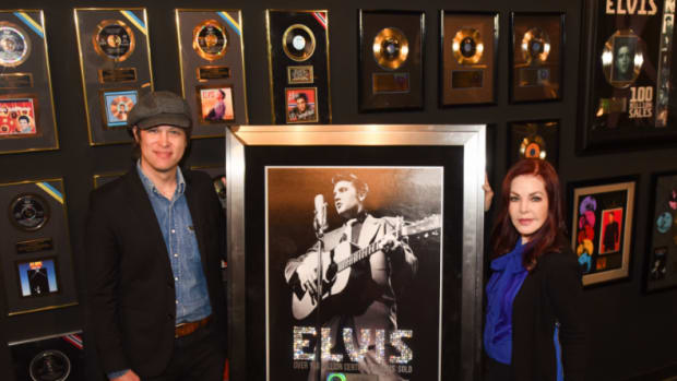 L-R John Jackson, SVP A&R Legacy Recordings/Sony Music Entertainment and Priscilla Presley. Photo courtesy of Legacy Recordings.