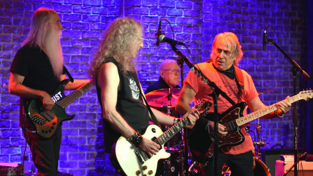 Left to right: Leland Sklar, Waddy Wachtel, Russ Kunkel and Danny Kortchmar of The Immediate Family perform Oct. 25 at The Iridium in New York. (Photo by Chris M. Junior)