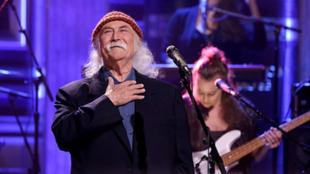 """""""We were kind of looking at this lost hippie ideal, and wondering where all that went,"""" says David Crosby. Steve Mack/Getty Images"""