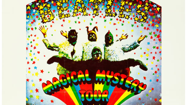 "In the mid-'70s, the Magical Mystery Tour film did become quite a success on the American midnight movie and college circuit, from where this poster hails. This college poster (23"" x 29"") sold for $1,015.75 at Heritage Auctions in November 2017."