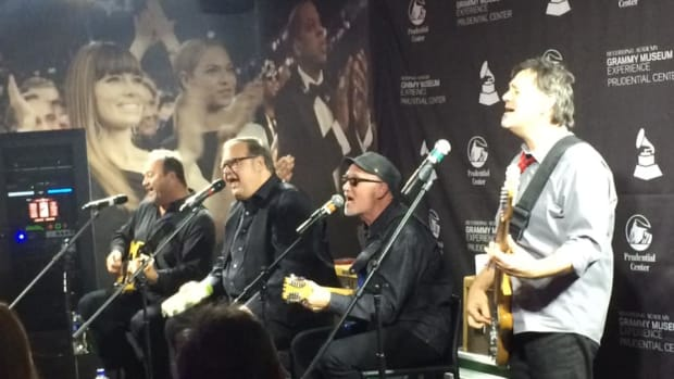 The Smithereens (left to right: Jim Babjak, Dennis Diken, guest vocalist Marshall Crenshaw and Mike Mesaros) participated in a night of talk and music at the Grammy Museum Experience at the Prudential Center in Newark, NJ on Thursday, October 24th. (Photo by John Curley)
