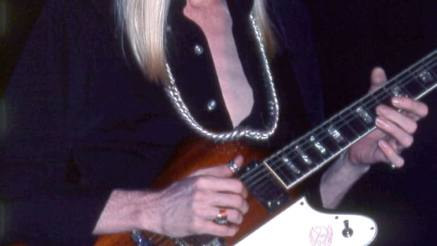 "WINTER 1976: A photograph of Johnny Winter live at the Felt Forum on April 3, 1976 — almost one month after this ""Time Capsule"" interview took place. (Photo by Frank White)"