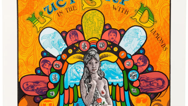 """Psychedelic Poster for """"Lucy In The Sky With Diamonds"""" (c. Late 1960s): This poster was purportedly a best-seller at The Beatles Apple Boutique in London. Many of the characters mentioned in the song's lyrics appear in the image, as do The Beatles, dressed in their Sgt. Pepper gear. The poster was designed by Tom Connell and Tom Cervenak and printed by San Francisco Impulse. This copy was auctioned, in excellent framed condition, by Heritage Auctions in 2015 for $750."""