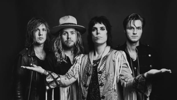 The Struts (L-R): Gethin Davies, Adam Slack, Luke Spiller and Jed Elliott. Photo by Anna Lee, courtesy of publicity.