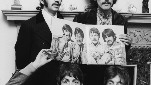 """The Beatles during a """"Sgt. Pepper"""" press conference in London on May 20, 1967. (Photo by Keystone-France/Gamma-Keystone via Getty Images)"""