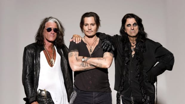 The Hollywood Vampires — members Joe Perry, Johnny Depp and Alice Cooper. Publicity photo.