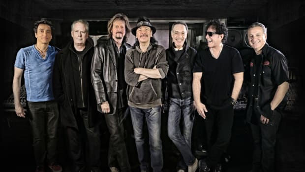The musicians representing the classic lineup (L-R): Benny Rietveld, Michael Shrieve, Gregg Rolie, Carlos Santana, Michael Carabello, Neal Schon and Karl Perazzo. Publicity photo.