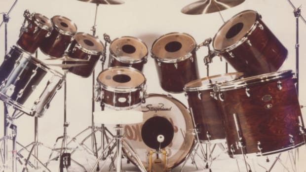 "Joe Stefko's drum kit from the 1977/1978 Meat Loaf ""Bat Out of Hell"" world tour. Photo courtesy of Backstage Auctions."