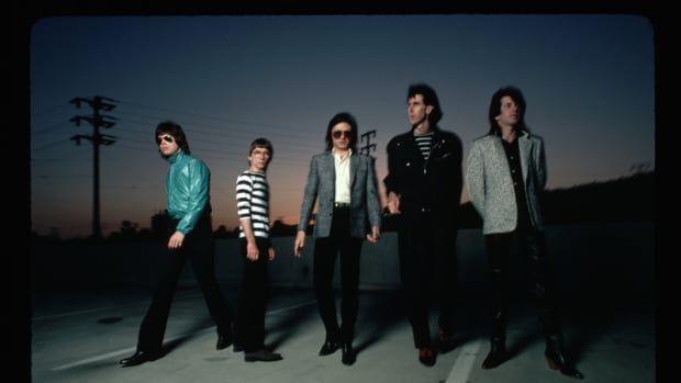 Members of the band The Cars (from left: David Robinson, Greg Hawkes, Benjamin Orr, Ric Ocasek and Elliot Easton) pose for a picture at dusk. (Photo by Lynn Goldsmith/Corbis/VCG via Getty Images)