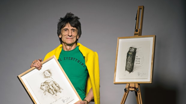 "Ron Wood with illustrations from his diary-converted-to-book, ""How Can It Be? A Rock & Roll Diary. Photo provided by Genesis Publications."