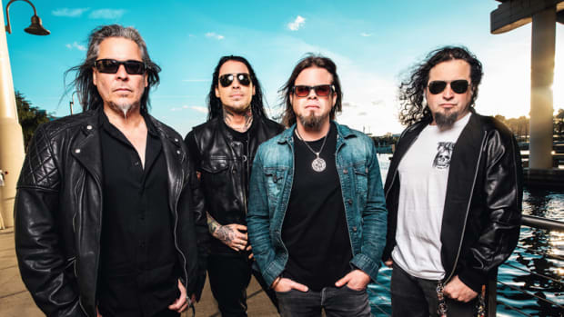 Queensrÿche. Goldmine interviewed Michael Wilton, far right. Photo courtesy of @GrizzleeMartin.