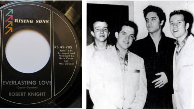 1957 photo of the Casuals visiting Elvis:Chester Power, Richard Williams, Elvis Presley and Buzz Cason, courtesy of Buzz Cason.