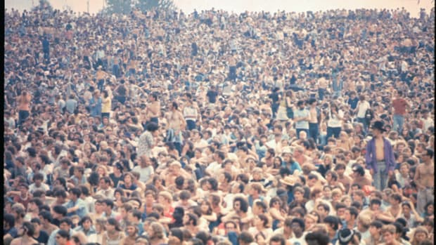 The crowd at the Woodstock music festival, August 1969. (Photo by Ralph Ackerman/Getty Images)