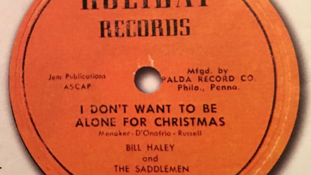 """I Don't Want To Be Alone For Christmas"" 45 was released in December of 1954. Image courtesy of Tefteller's Rarest Records."
