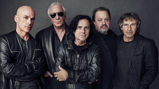 Marillion: (L-R): Mark Kelly (keyboards), Ian Mosley (drums), Steve Hogarth (vocals, keys), Steven Rothery (guitar), Pete Trewavas (bass). Photo by Freddy Billqvis.