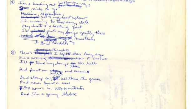 Original, Signed Handwritten Lyrics by Bob Dylan From November 1961 -- Draft Song About Wisconsin, Where Dylan Spent Summers as a Youth -- With Roger Epperson COA