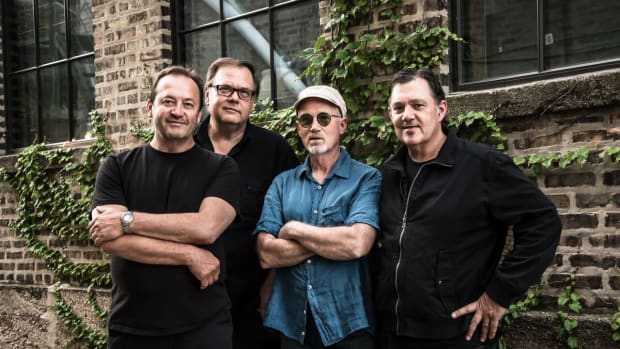 The Smithereens, with singer-songwriter Marshall Crenshaw on lead vocals and rhythm guitar, performed an incendiary show (their second of the night) at The Iridium in New York City's Times Square on Saturday, July 13th. (Photo by Luciano J. Bilotti, courtesy of The Smithereens)