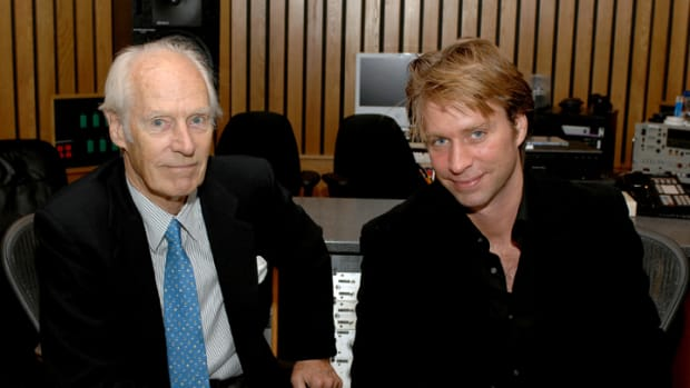Sir George Martin with son Giles Martin. (Photo by Lester Cohen/WireImage)