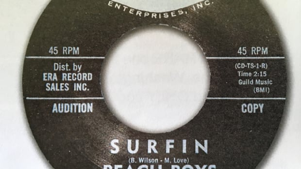 "Beach Boys' 45 of ""Surfin/Luau"" on Candix (301) in mint condtion. Image courtesy of Tefteller's Rarest Records."