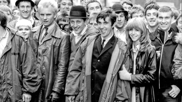 In the foreground on the Quadrophenia set are (left to right) Toyah Wilcox, Sting, Mark Wingett, Phil Daniels and Leslie Ash. (Photo by Frank Connor, courtesy of Sky Arts)