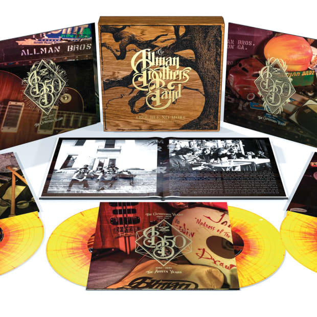 """A limited-edition 10-LP set of """"Trouble No More"""" comes in orange and red splatter colored vinyl to evoke the inside of a peach."""